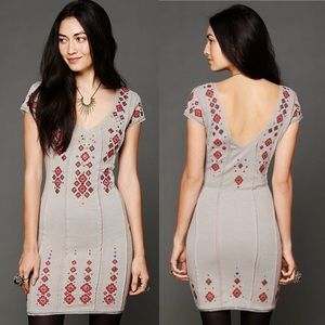 NWT Free People rich embroidery bodycon dress